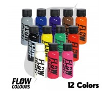 Flow Colours 12 Renk Boya 1 oz 30 ml Dövme Boyası Seti