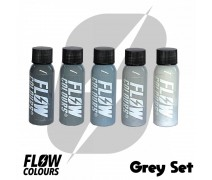 Flow Colours Grey Set 1 oz 30 ml 5 Ton Gri Boya Seti Dövme Boyası Seti